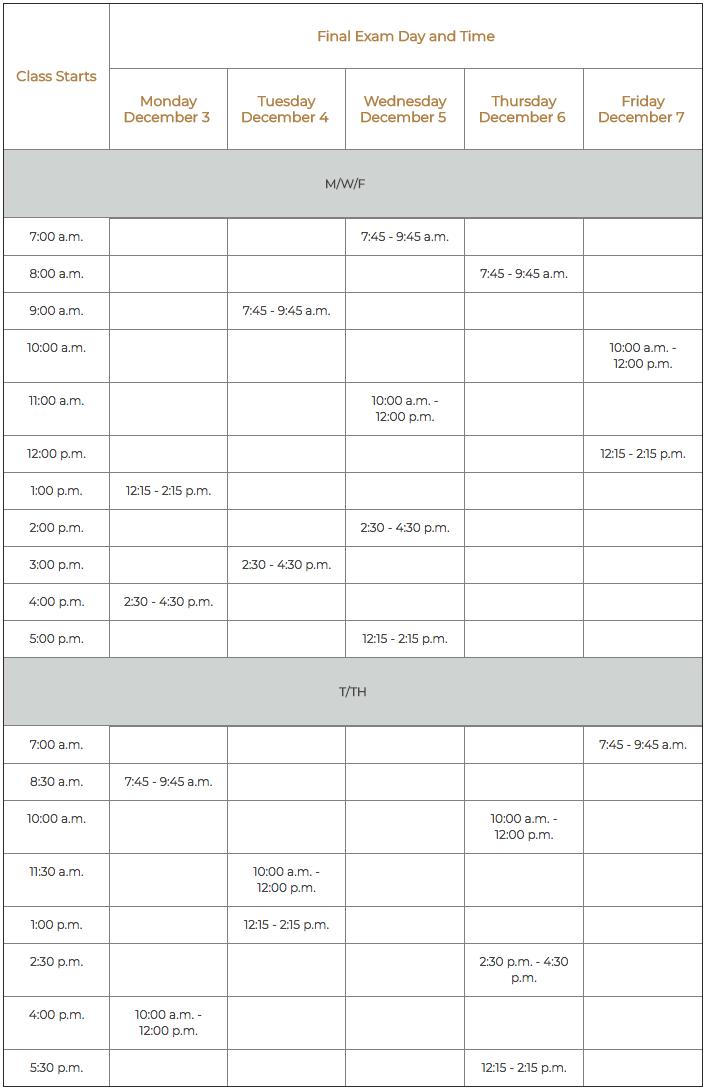 Finals Schedule - Fall 2018