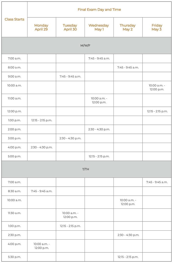 Spring 2019 Finals Schedule